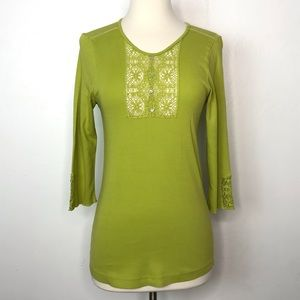 Anthropologie TINY Crochet Top Green Size Large